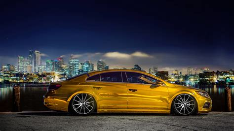 volkswagen gold volkswagen passat cc gold tuning 4k wallpapers