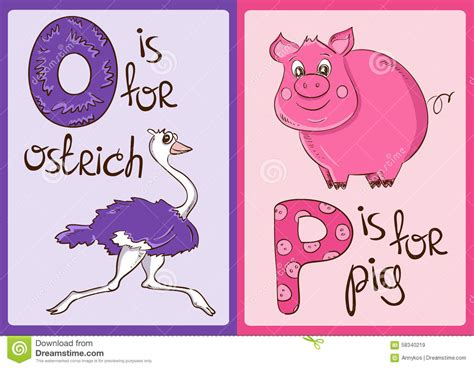Children Alphabet With Funny Animals Ostrich And Pig