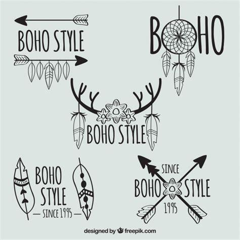 set   hand drawn logos  feathers  arrows
