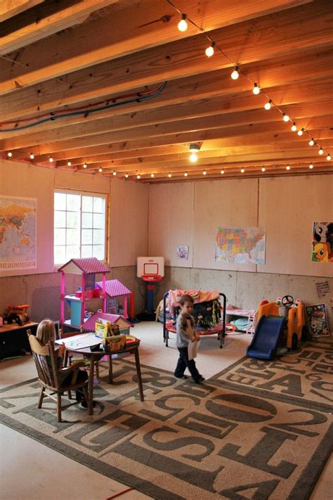 40523 unfinished basement playroom ideas basement play room string lights kid cave unfinished