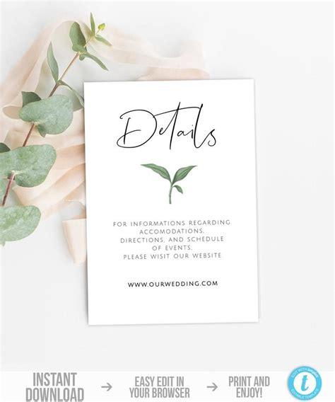 Greenery Wedding Invitation Set Template Botanical
