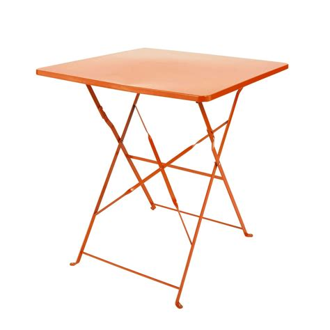 metal folding garden table in orange w 70cm guinguette