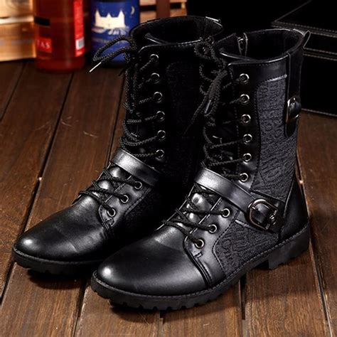 Tangnest Autumn Punk Martin Boots Men Fashion Leather