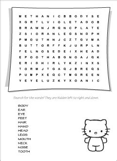 body vocabulary  kids learning english printable
