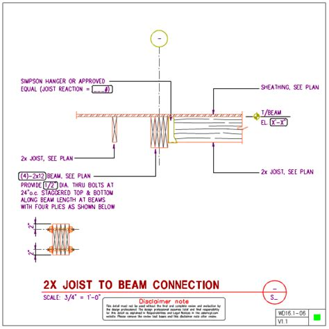 wd16 1 wood joist to wood beam details axiomcpl