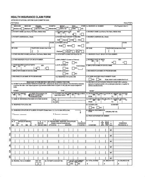 medical insurance claim form sle health insurance form 9 free documents in pdf