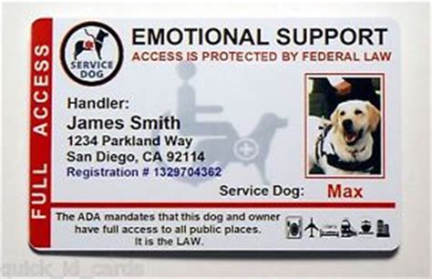 emotional support service dog id card  service animal