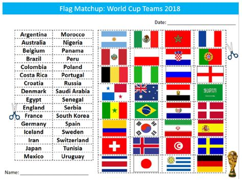 World Cup 2018 Country Flags Matchup Sheet Starter
