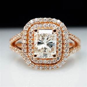 rose gold engagement ring large radiant cut diamond ring 14k With big gold wedding rings