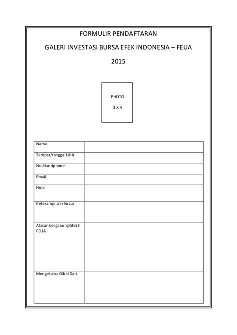 Formulir pendaftaran dan cv or gibei 2015/2016