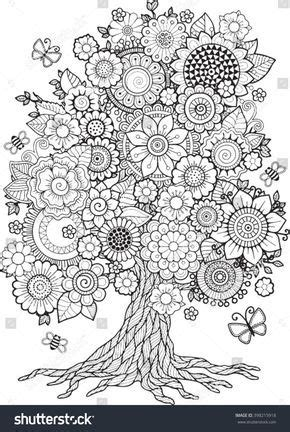blossom tree vector elements coloring book  adult