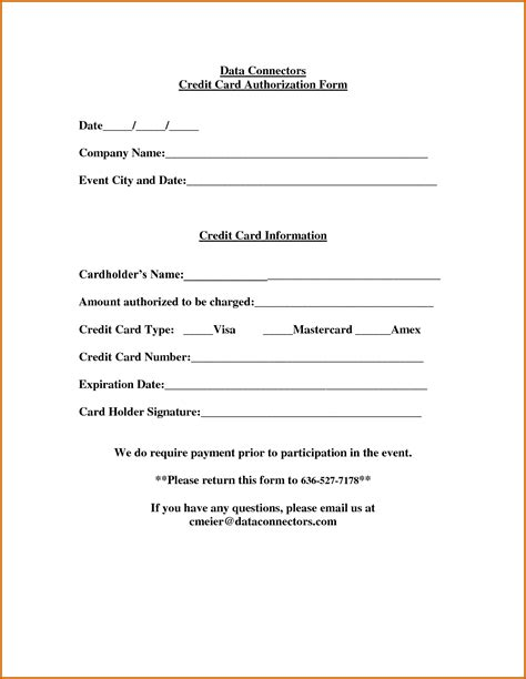 credit card on file authorization form template 13 printable credit card authorization form lease template