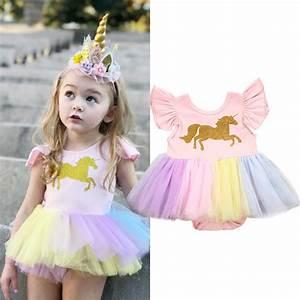 Newborn Baby Girls Unicorn Lace Tutu Romper Fancy Dress Outfits Kids Costume USA | eBay