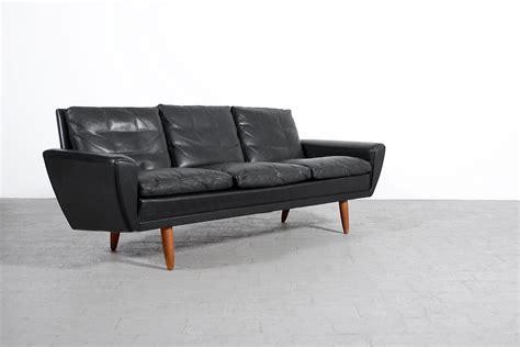 canapé sofa canapé scandinave vintage cuir noir 1960 jasper