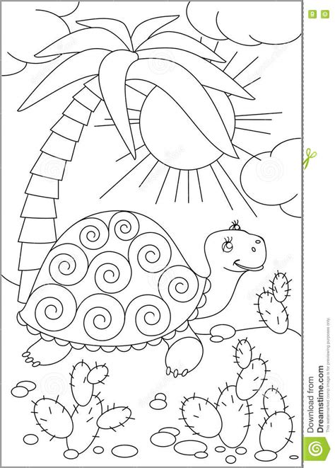 page  black  white drawing  turtle  coloring stock vector illustration  child