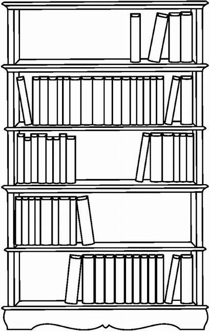 Bookshelf Coloring Pages Bookshelves Tocolor Button Through