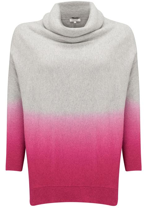 ombre sweater cocoa cowl neck swing ombre sweater grey day glow