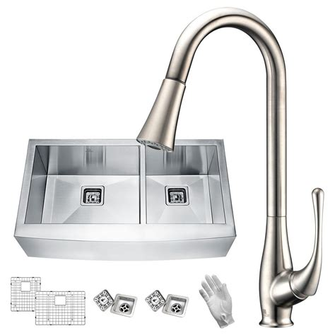 european kitchen sinks stainless steel anzzi elysian farmhouse stainless steel 36 in 60 40