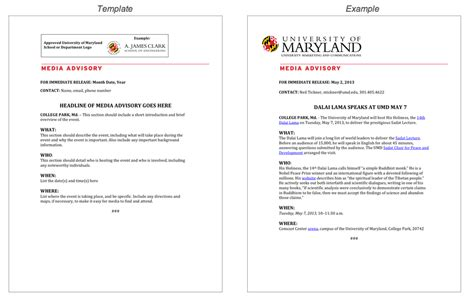 Media Alert Template by The Of Maryland Brand Toolkit