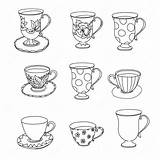 Tea Coloring Cup Ice Cream Cupcake Printable Cups Adult Gelato Insieme Pagina Della Teetopf Kuchen Eiscreme Schale Kleiner Pot Zen sketch template
