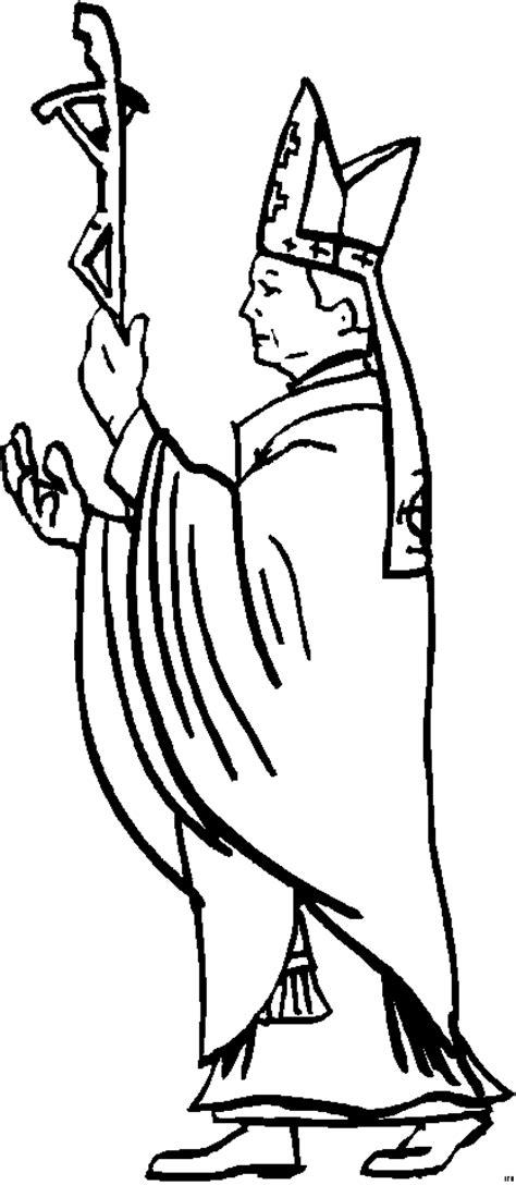 bischof mit kreuz ausmalbild malvorlage religion