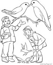 Winter Birds Coloring Pages Printable