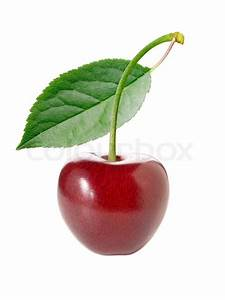 Cherry With Leaf On White Background  Isolated