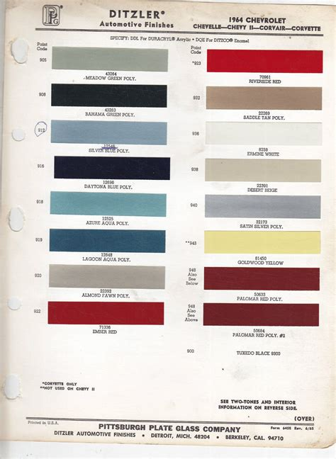 1964 chevrolet paint codes cars and coll stuff paint