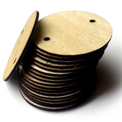 thin   wooden circle disc tag  hole family