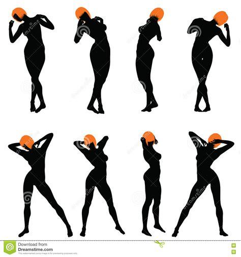 Naked Girls Silhouette Set Stock Vector Illustration Of