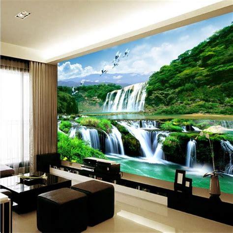 wallpaper mural waterfall nature bedroom living room tv