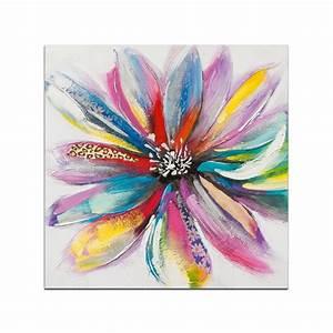 Fleurs tableau carre multicolore acrylique 75x75 pier import for Chambre bébé design avec tableaux fleurs acrylique