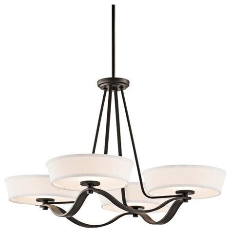 four light olde bronze drum shade chandelier