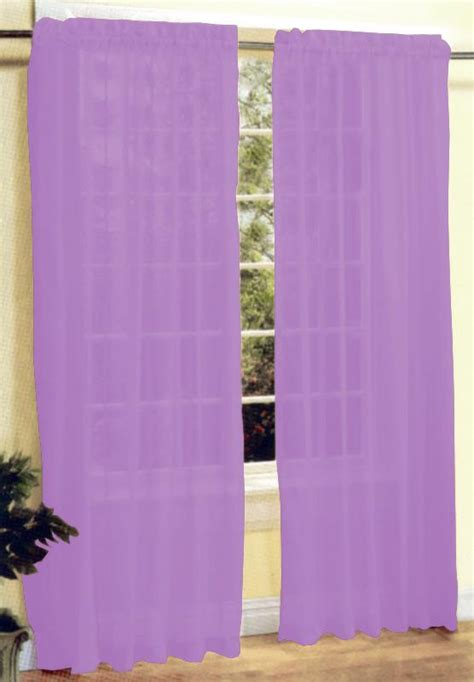 new 2 pieces sheer voile window curtain panel set