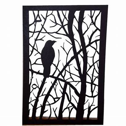 Silhouette Paper Cut Frame Tree Crow Clipart