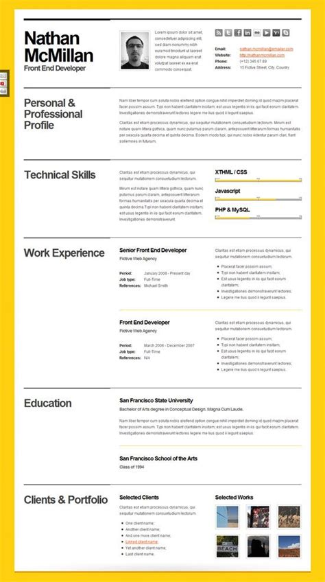 Beautiful Resume Templates by 10 Beautiful Resume Html Templates Creative Cv Design