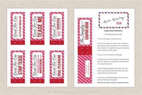 Sexy Printable Valentines Day Coupon Book Love By