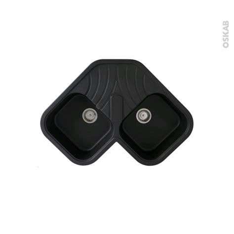 meuble bas angle cuisine evier d 39 angle topsink granit noir 2 bacs égouttoir à