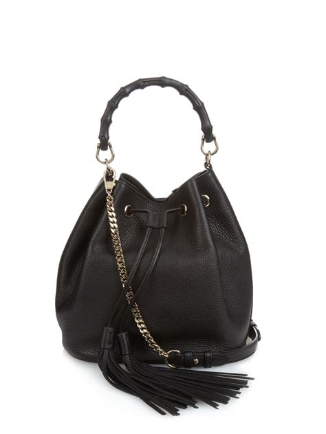 lyst gucci bamboo leather bucket bag  black