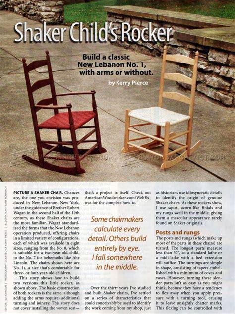 childs shaker rocking chair plans woodarchivist