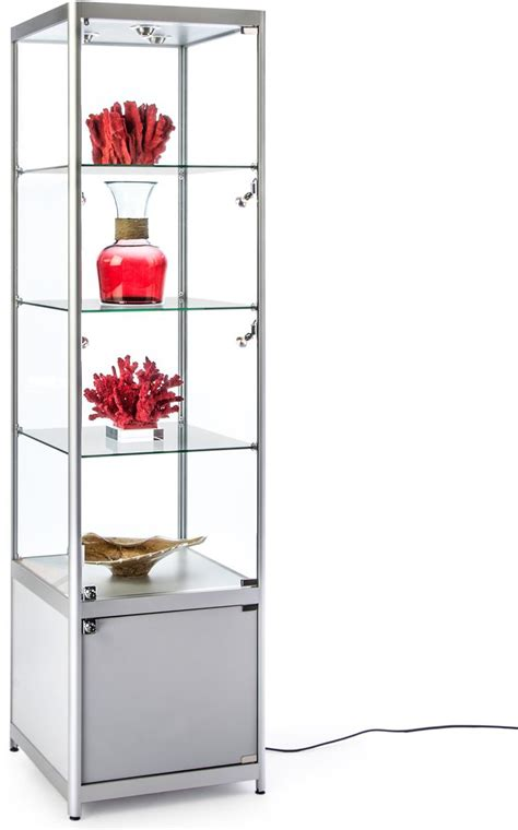 lighted silver tower display 3 glass shelves