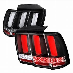 1999-2004 Ford Mustang LED Sequential Tail Lights Black - SDT-LT-MST99JMLED-SQ-TM