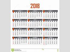 Calendário Para 2018 Começos Da Semana Em Domingo