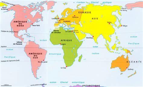 Carte Des Mers Dans Le Monde by Carte Du Monde Continents Et Oc 233 Ans 187 Carte Du Monde
