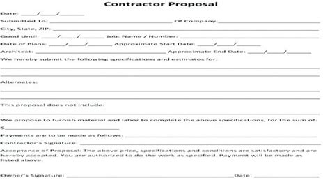 Proposal Template Free Word Format Download Drywall Bid