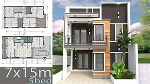 Home Design Plan 7x15m With 5 Bedrooms 3d Modeling House Designs Full Plan