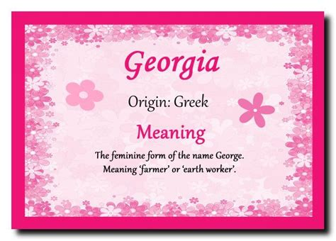 Georgia Personalised Name Meaning Plaque