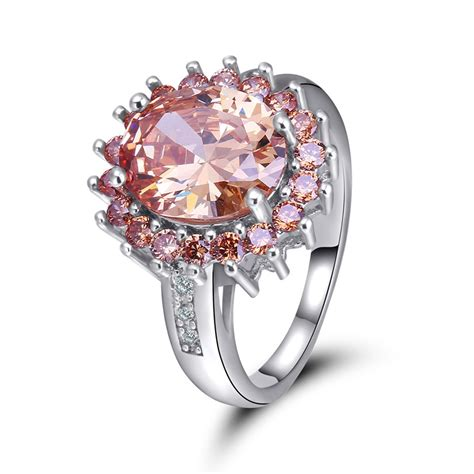 2018 large jewelry rings new royal princess engagement ring chagne zircon fashion
