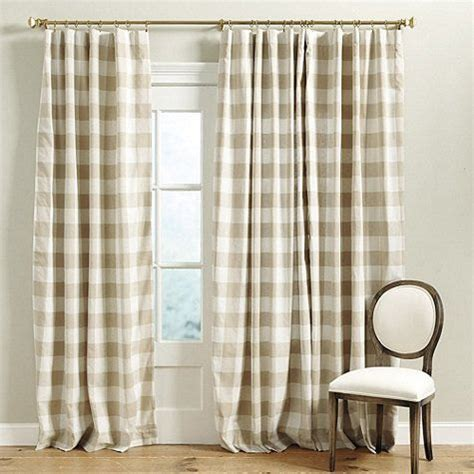 buffalo check curtains in linen and white by