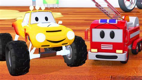 monster trucks races cartoon fire truck bulldozer racing car and lucas the monster